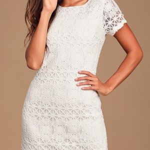 Lulus Love You For Eternity White Lace Shift Dress